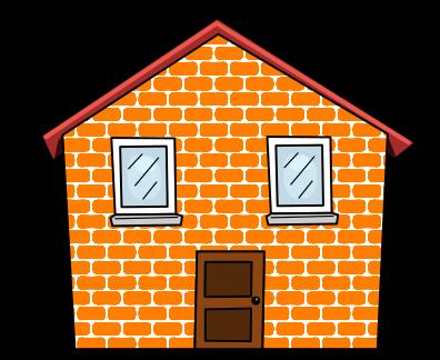 Cartoon brick house.