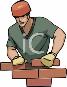 Clipart Picture of a Bricklayer Building a Wall.