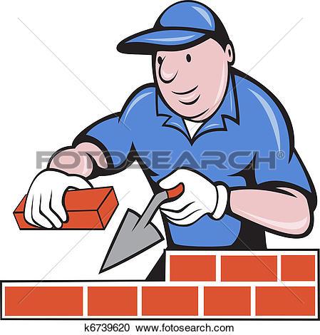 Stock Illustration of bricklayer mason plasterer worker k6367747.