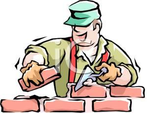 Colorful Cartoon of a Brick Layer Laying Bricks.