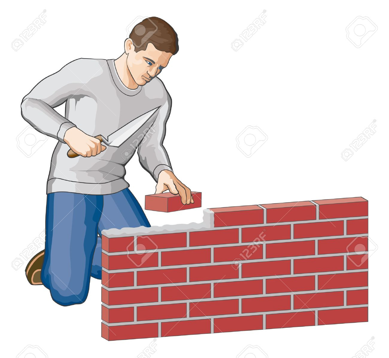 Bricklayer Is An Illustration Of A Man Building A Brick Wall.