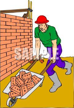 Bricklayer Pushing a Wheelbarrow Full of Bricks.