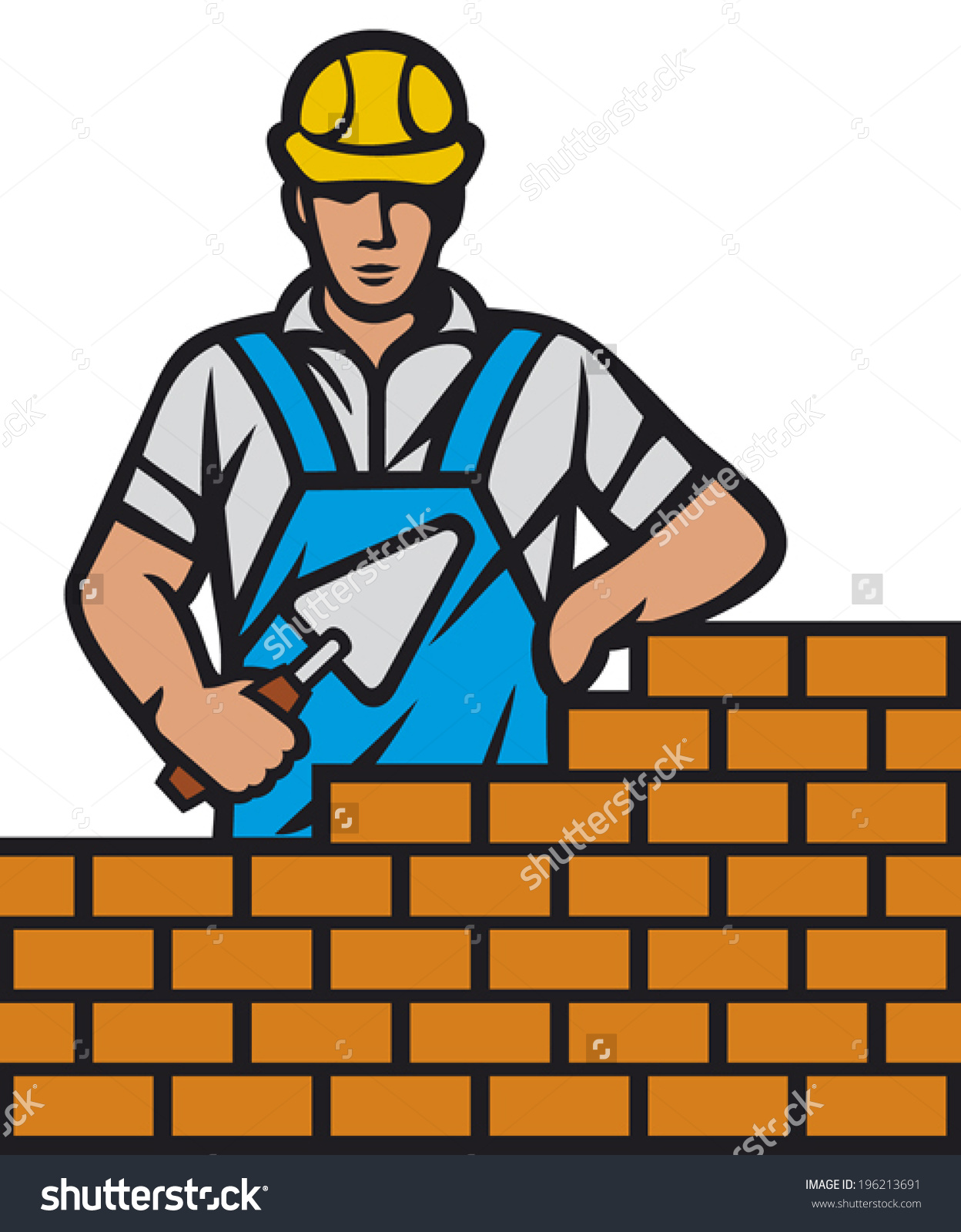 Mason Brick Trowel Hand Construction Worker Stock Vector 196213691.