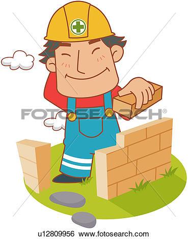 Clip Art of illustration, lineart, bricklayer, brick, layer, mason.
