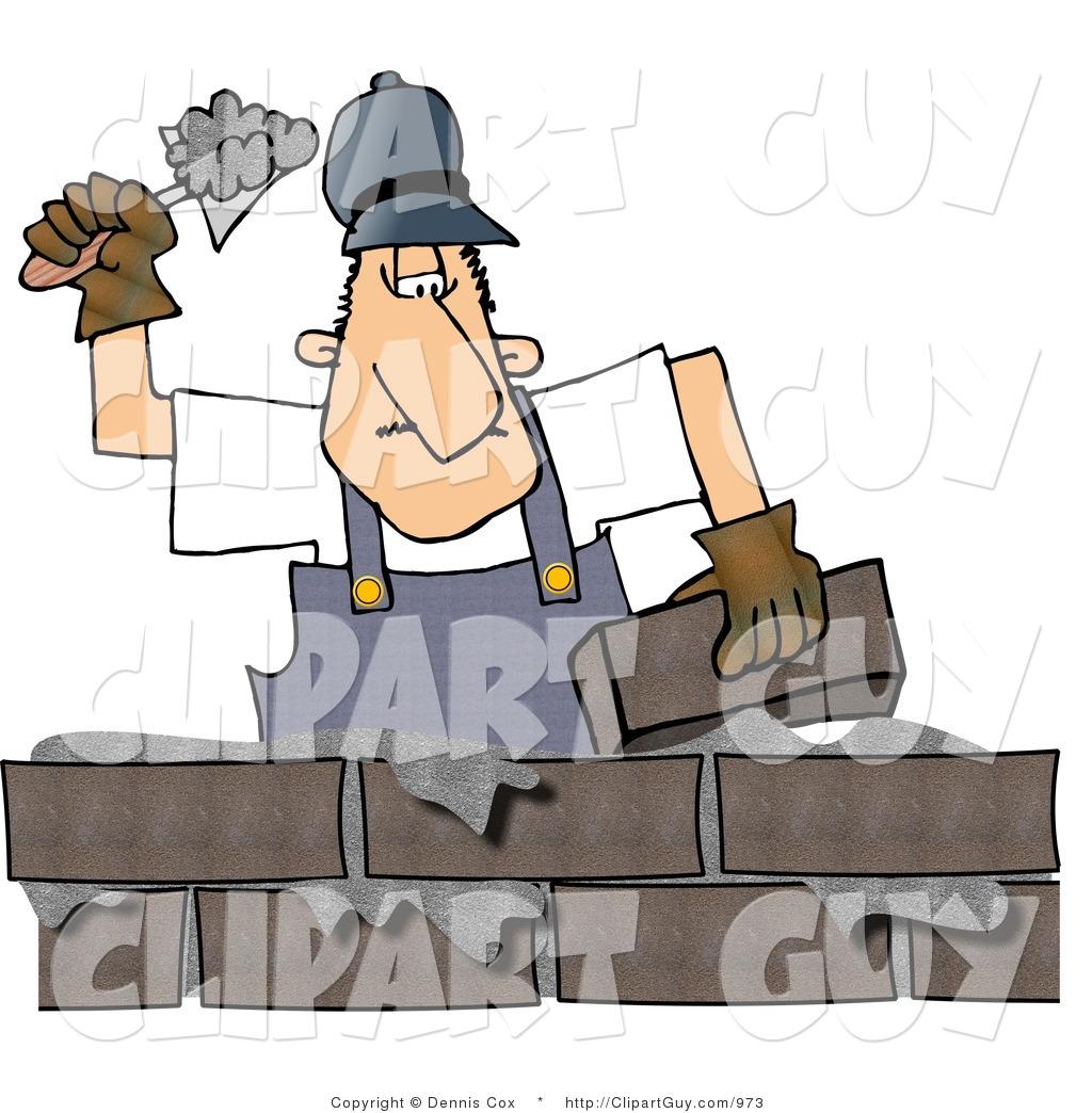 Clip Art of a Male Mason, Builder Cementing a Brick Wall by djart.