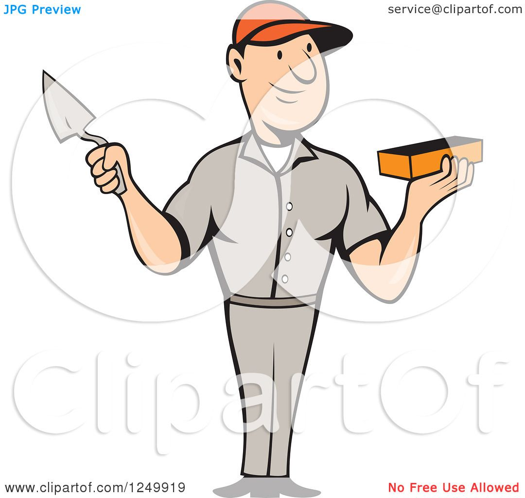 Clipart of a Cartoon Male Mason Worker Holding a Brick and Trowel.