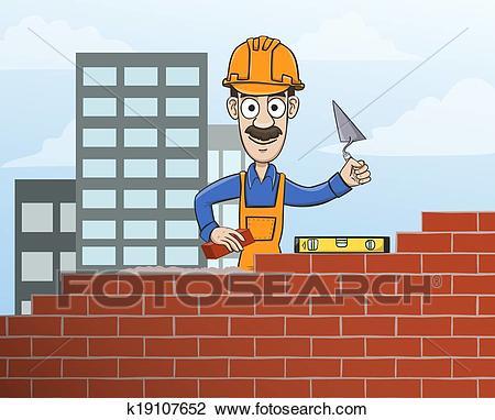 Mason building red brick wall Clipart.