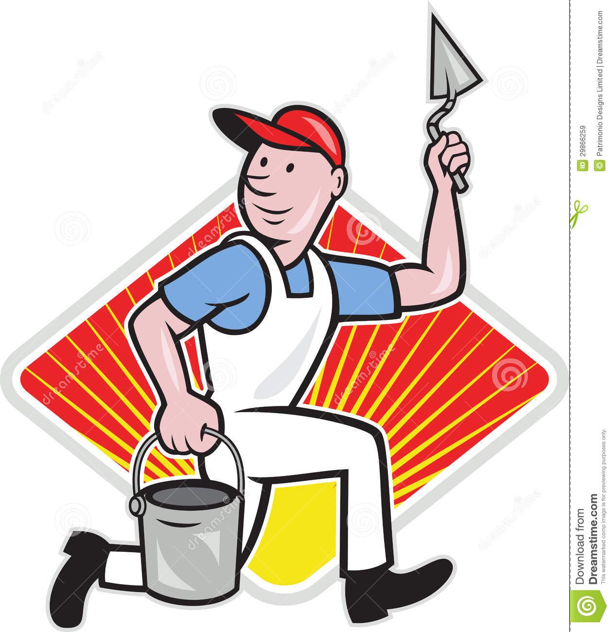 Plaster Masonry Worker Cartoon Royalty Free Stock Images.
