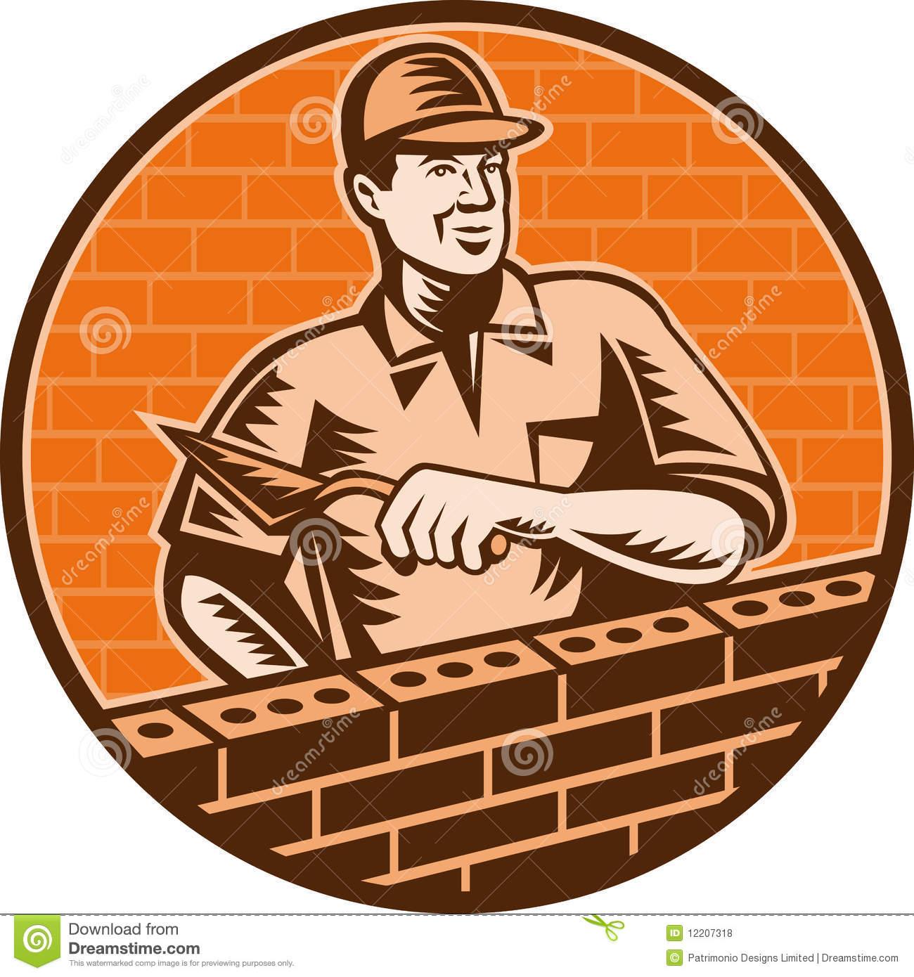 Brick Layer Mason Masonry Worker Retro Stock Vector.