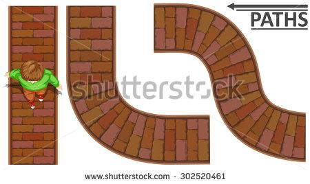 Man Walking On Brick Path Illustration.
