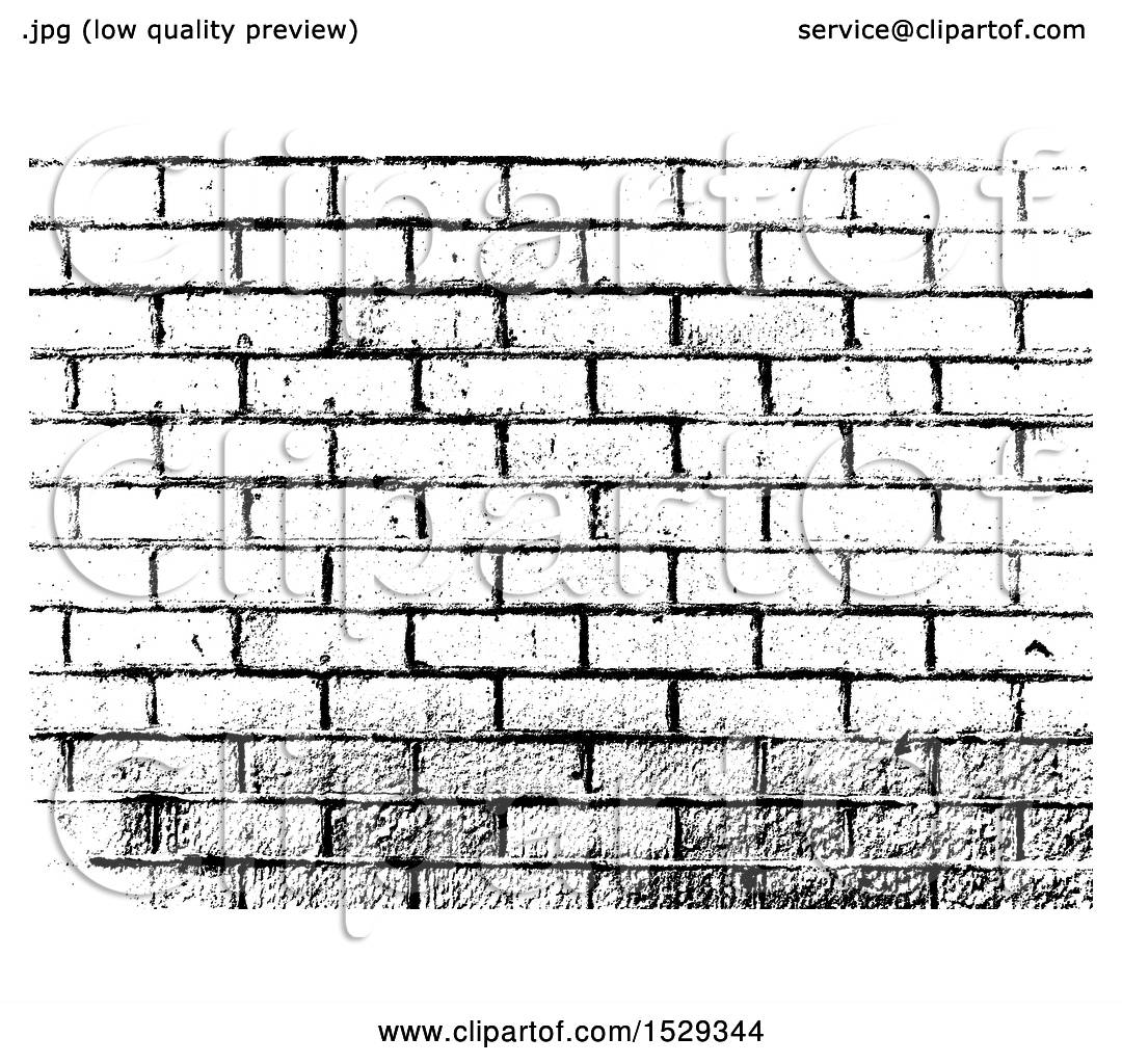 Clipart of a Black and White Brick Wall Background.