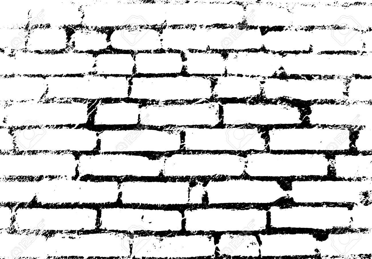 Old vintage brick wall. Background, pattern black and white.