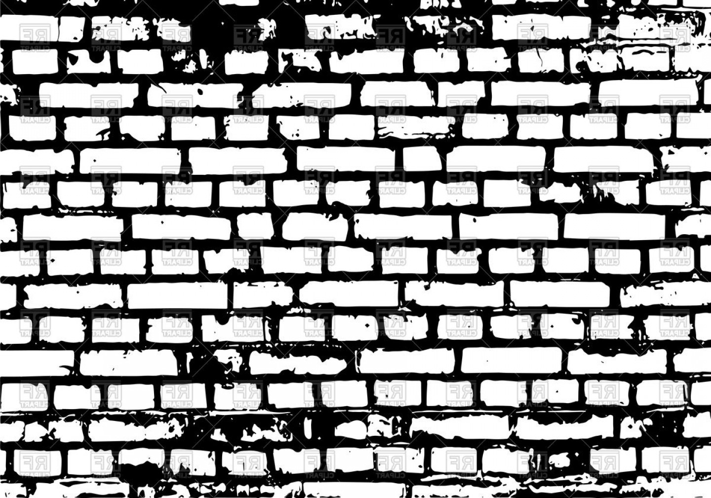 Brick Wall Black Background Vector Clipart.