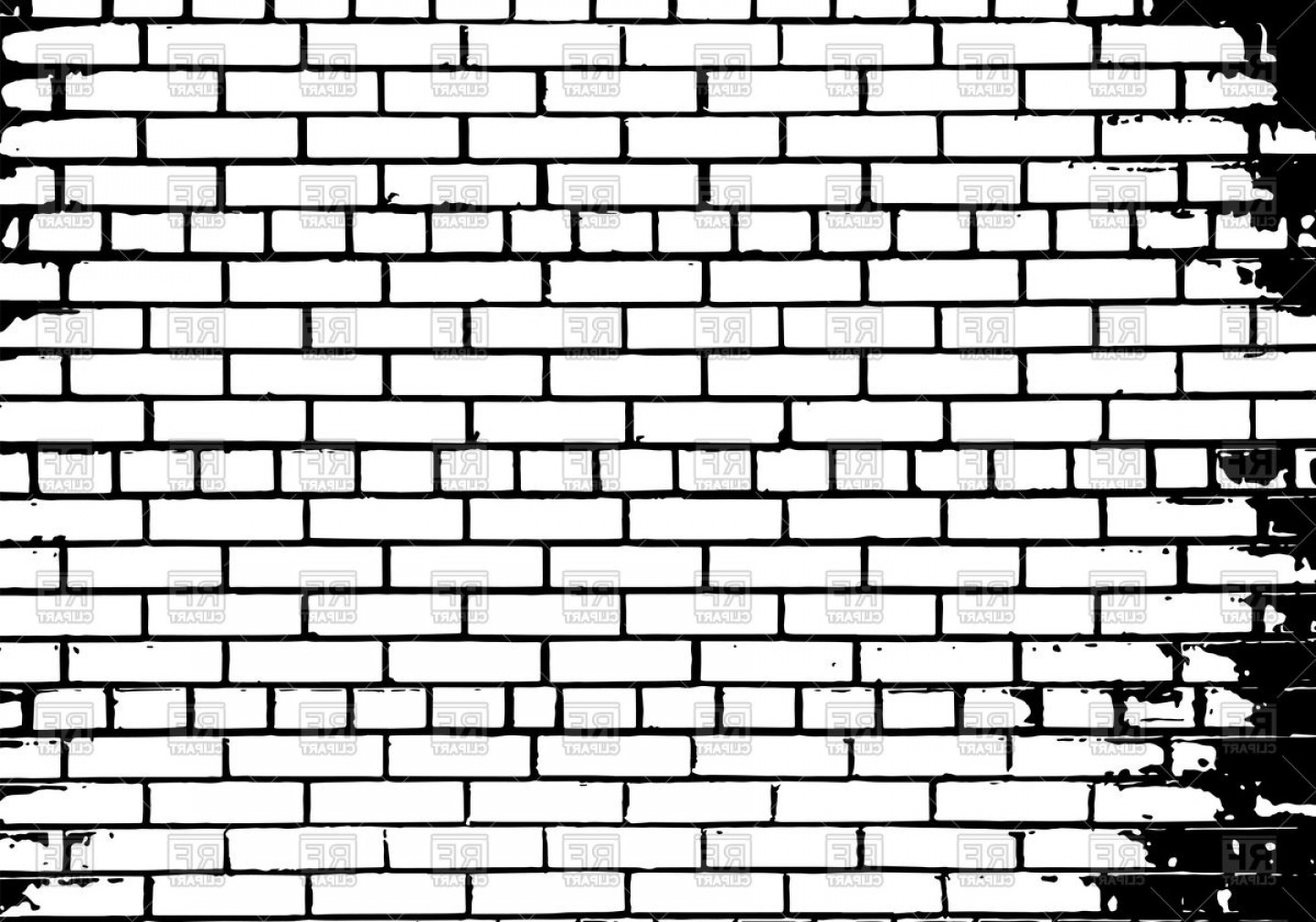 Grunge White And Black Brick Wall Background Vector Clipart.
