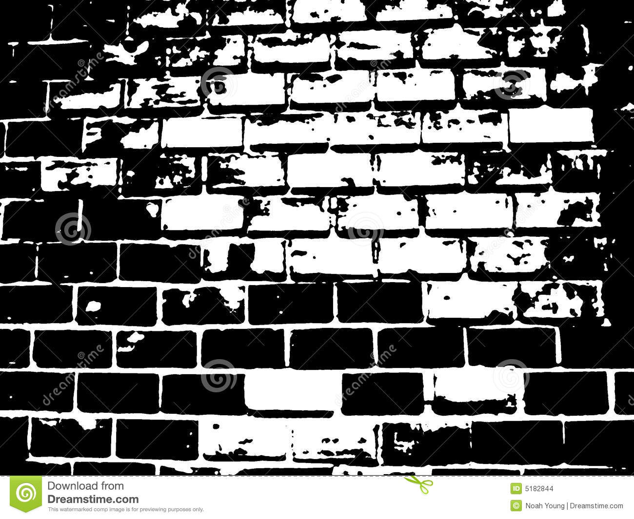 Brick Black And White Illustration Stock Illustration.