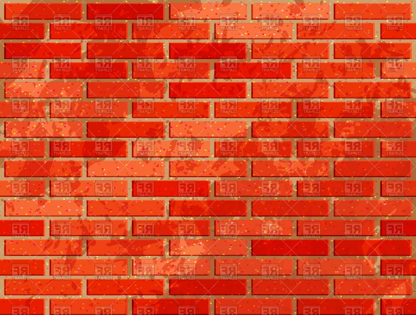 Red Brick Wall With Noise Textures Vector Clipart.