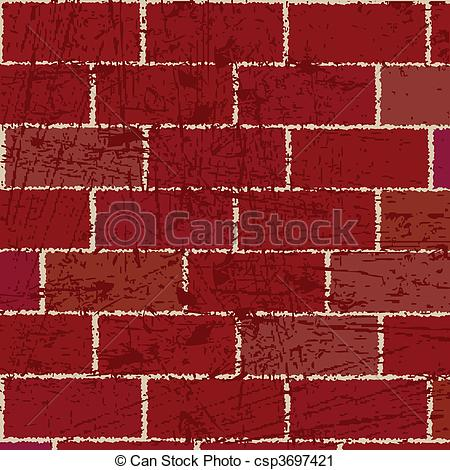Clipart of Red brick wall csp3697421.