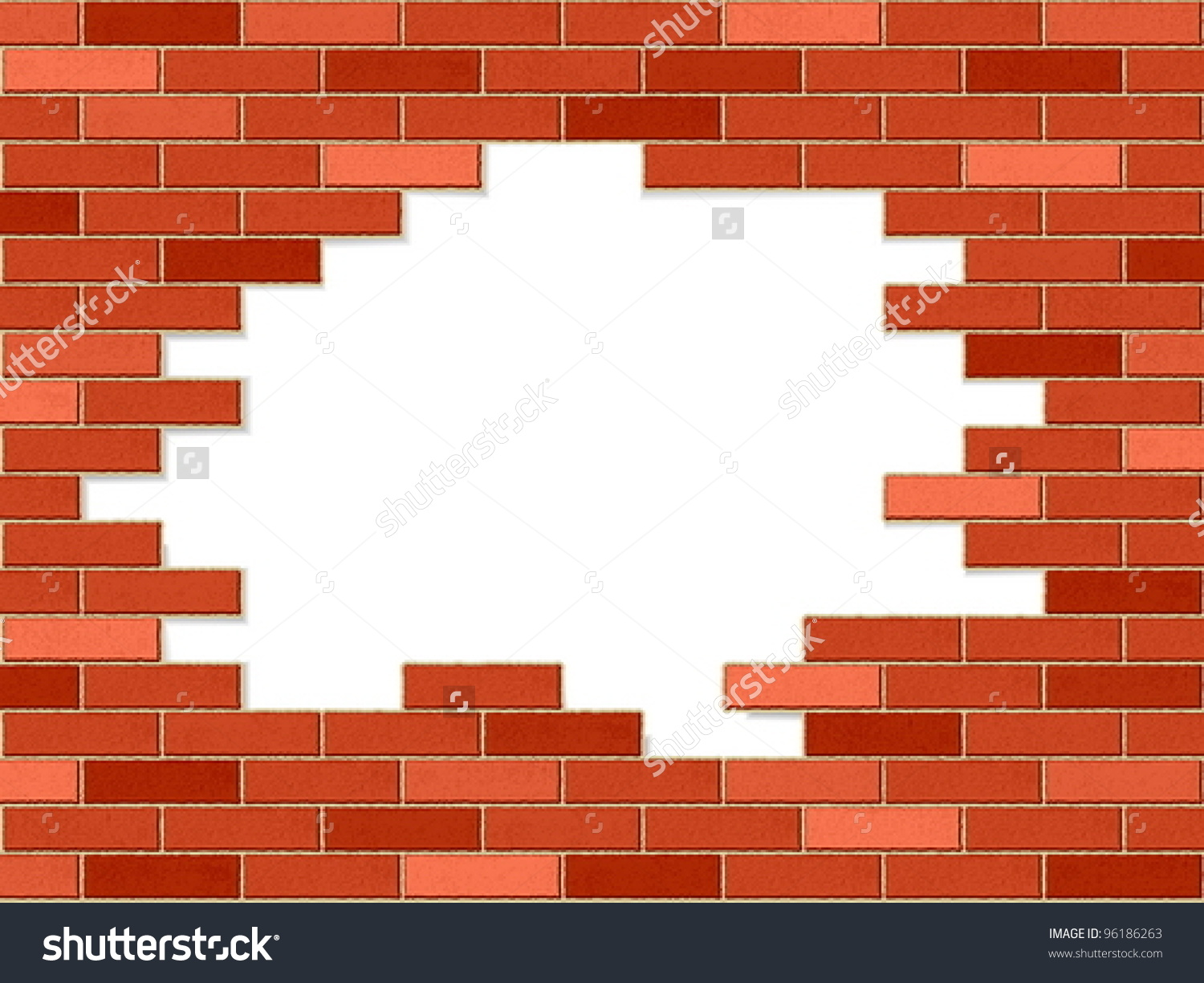 Crashed Brick Wall Texture Background Vector Stock Vector 96186263.