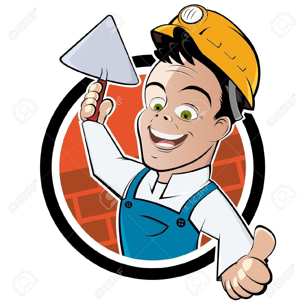 Mason Trowel Clip Art Cartoon : Bricklayers clipart clipground