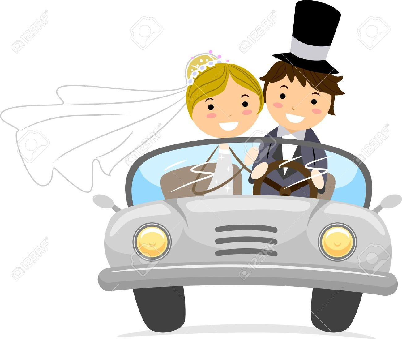 Illustration Of Newlyweds In A Bridal Car Stock Photo, Picture And.