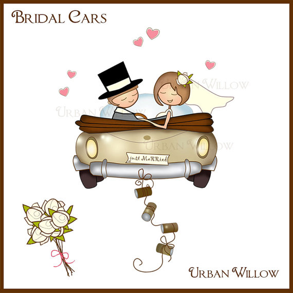 JUST MARRIED Bridal Cars Clip art in Png & Jpeg by UrbanWillow.
