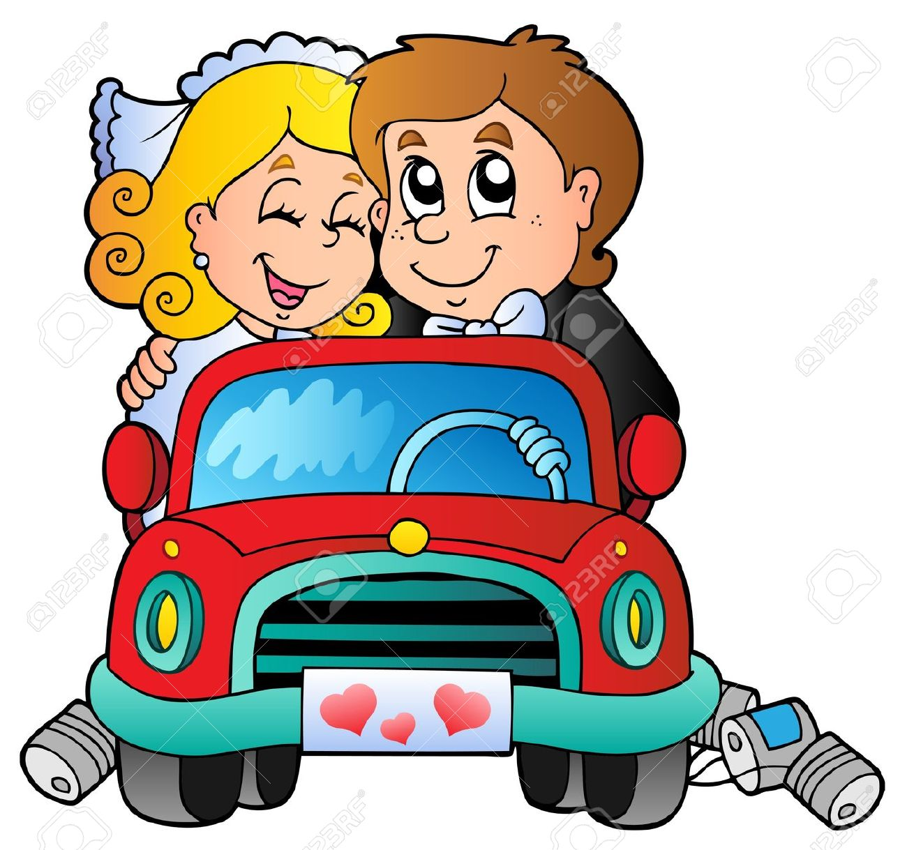 Car With Wedding Couple.