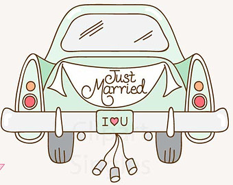 Clipart just married car.