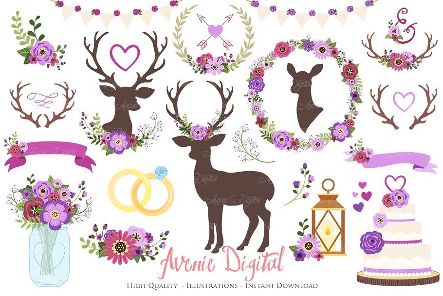Purple Rustic Wedding Clipart.