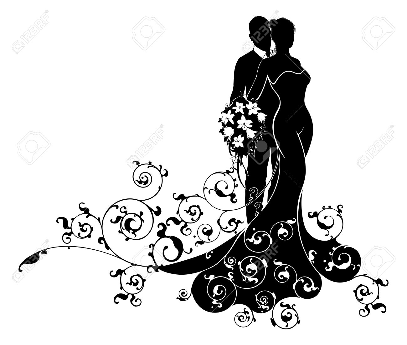 Wedding couple bride and groom husband and wife in silhouette,...