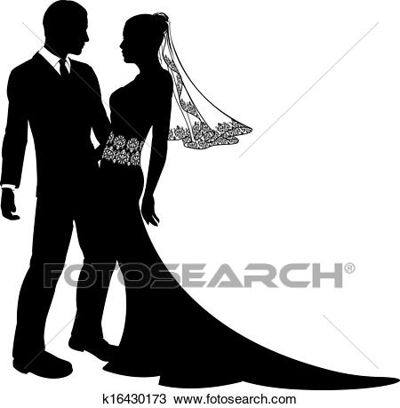 Bride and groom wedding couple silhouette Clipart.