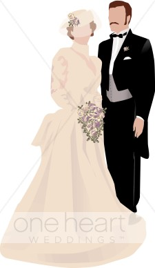Victorian Wedding Couple Clipart.