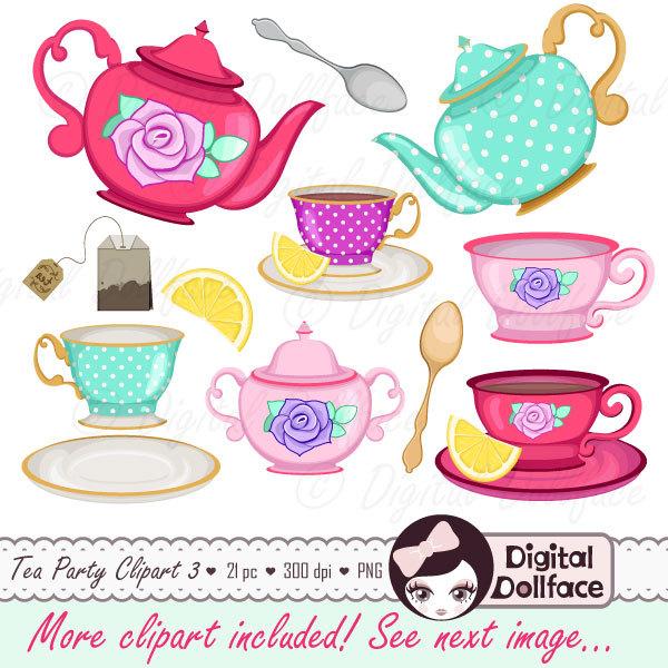 Tea Cup Clip Art Tea Party Bridal Shower by DigitalDollface.