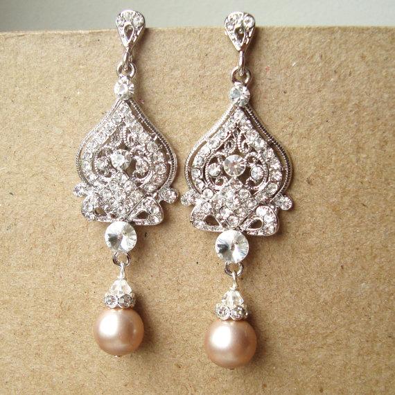 Champagne Wedding Earrings, Art Deco Bridal Earrings, Vintage.
