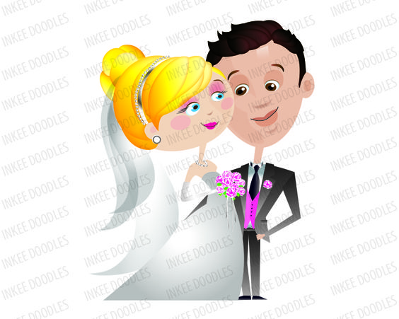 Beautiful Cute Bride And Groom Wedding Clipart, part of a 16 piece.