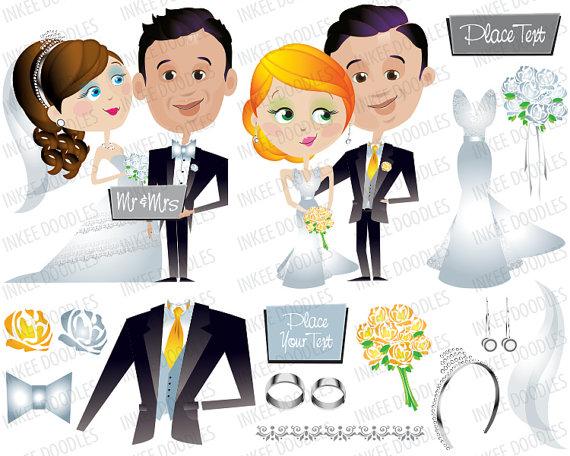 Wedding Gown, Earrings, Bridal Tiara, Bride's Veil Flowers Clipart.