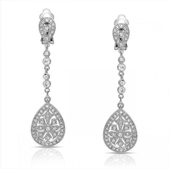 Boucles d'oreilles mariage chandelier clip Art déco.