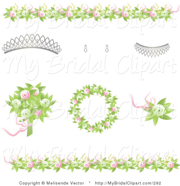 Bridal Clipart of Bridal Design Elements of Green and Pink Rose.