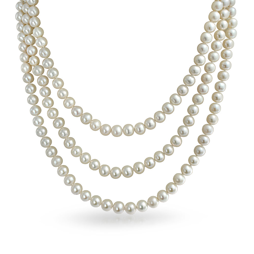 Bridal Triple Strand White Pearl Necklace Gatsby Inspired 20in.