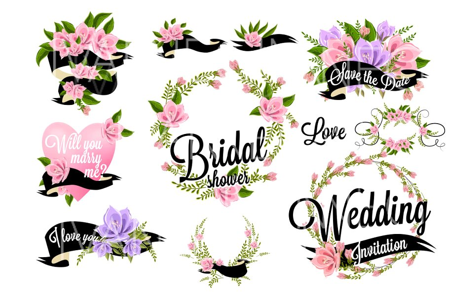 37 Wedding Floral clipart set ~ Illustrations ~ Creative Market.