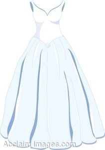Clip Art of a Classic Wedding Gown.
