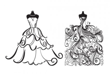 Animated Wedding Dress Clipart.