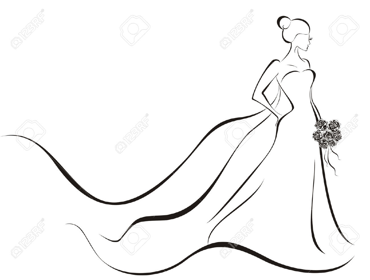 Wedding Gown Silhouette Clipart.
