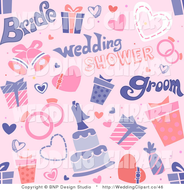 Vector Cartoon Marriage Clipart of a Seamless Pink Wedding Bridal.
