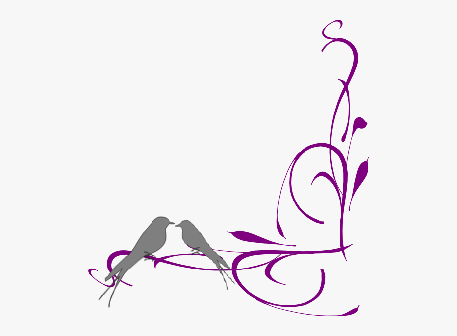 Floral Swirly Bird Bottom Corner Clip Art Vector.