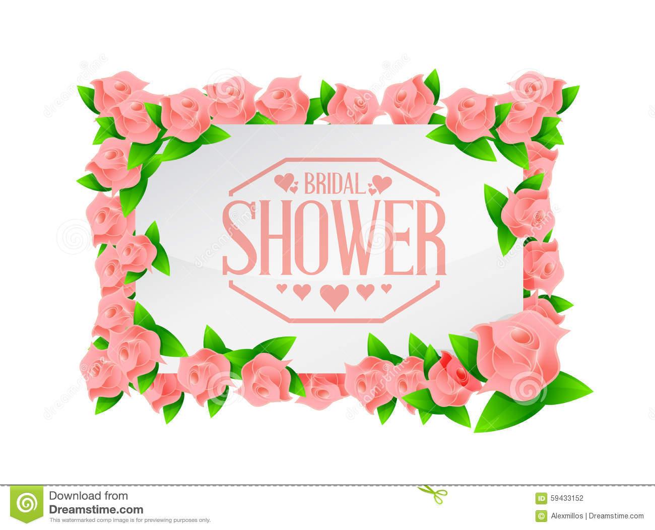 Bridal Shower Roses Board Sign Lines Background Stock Illustration.