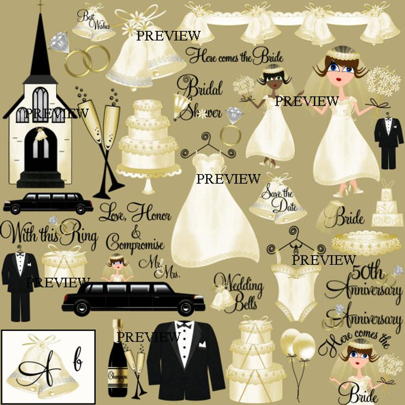 Wedding clip art, bridal shower clipart, wedding invitations, kits cards  printables clip art, announcements, graphics, clipart save the date.