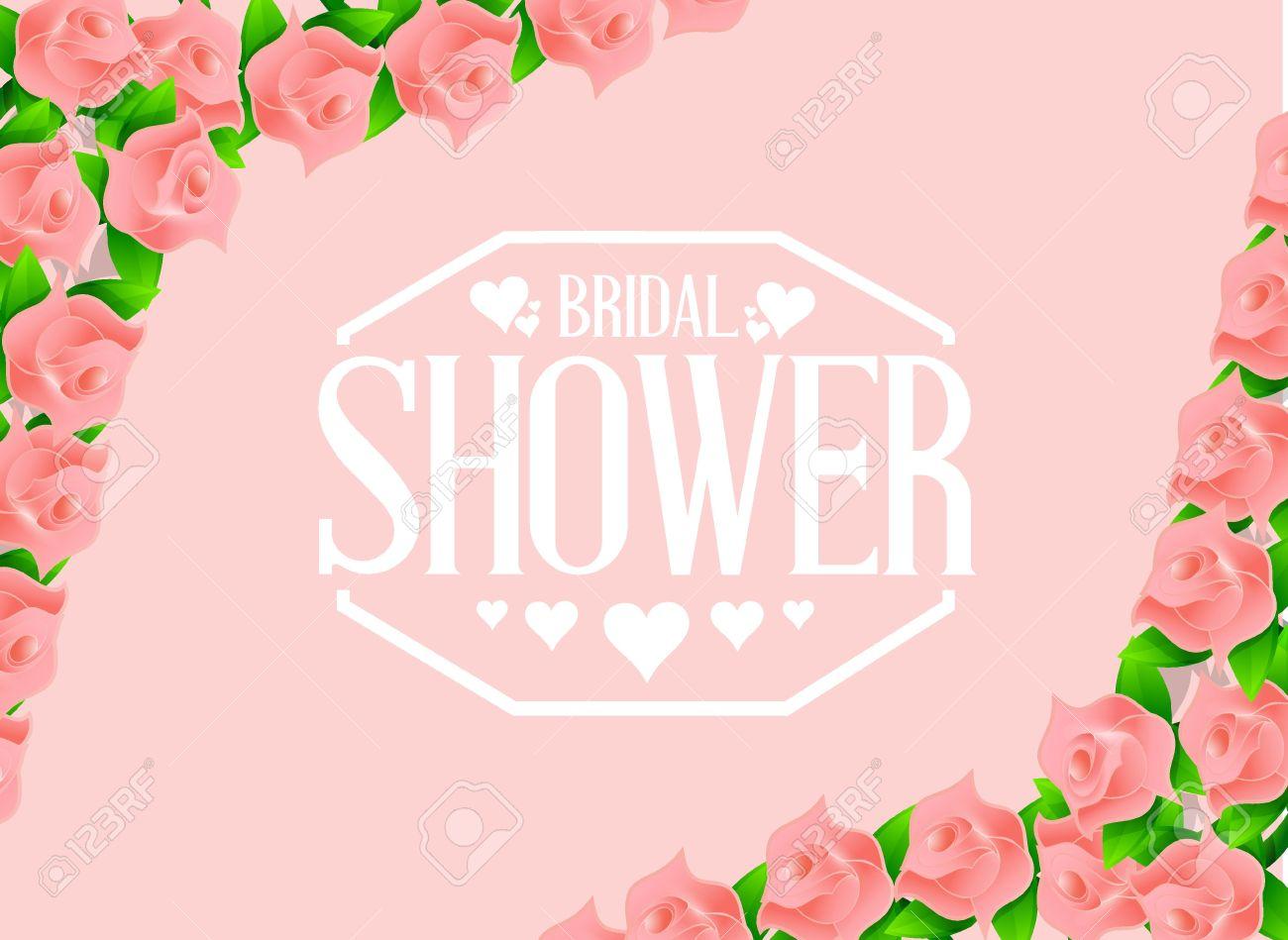 bridal shower pink roses sign illustration design graphic background.