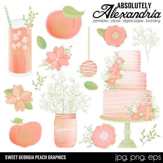 Sweet Georgia Peach Digital Clipart.
