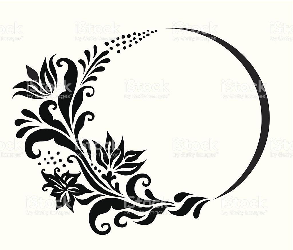 Image result for floral circle black and white clipart.