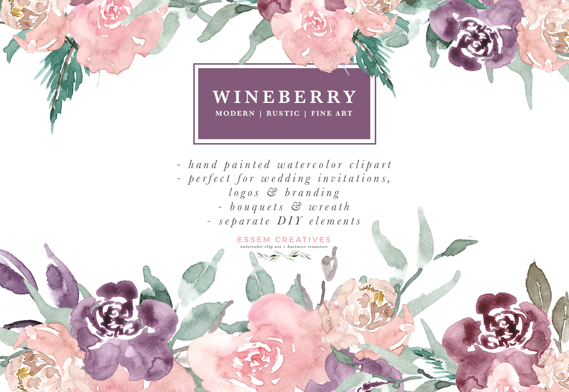 Wine Berry Burgundy Watercolor Flowers Clipart, Watercolor Bouquets Wreaths  for Wedding Invitations & Logo.